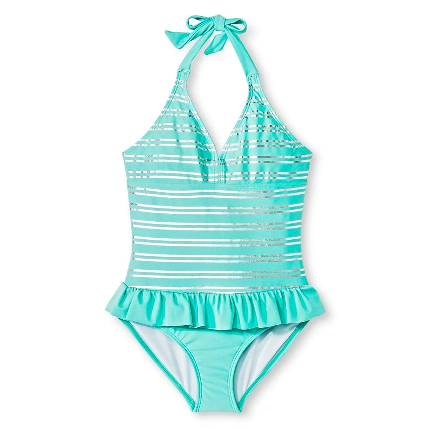 Silver Stripes /& Ruffle Details Circo Girls One Piece Silver Stripe Halter Swimsuit