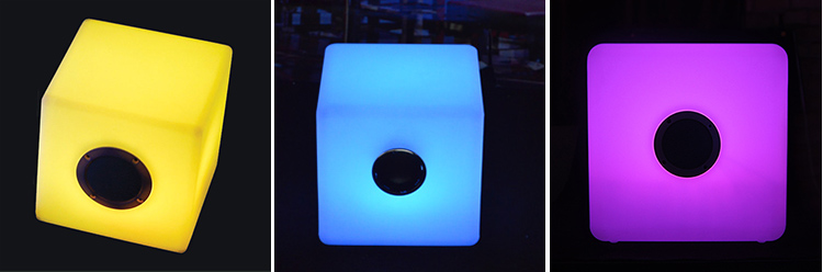 Waterproof outdoor plastic illuminated led cube light, bluetooth speaker with led light