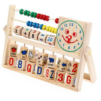 Baby Toy Montessori Wood Color smiling face clock calculation Early Childhood Education Preschool Training Kids Toys