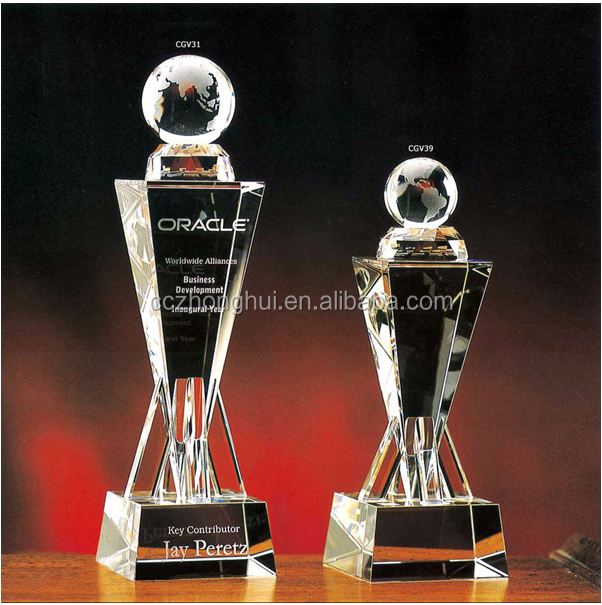 AAA K9 high quality wholesale golf trophy, crystal foot ball award