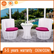 Durable Indoor Furniture White French Rattan Wicker Chairs Bistro Set Outdoor