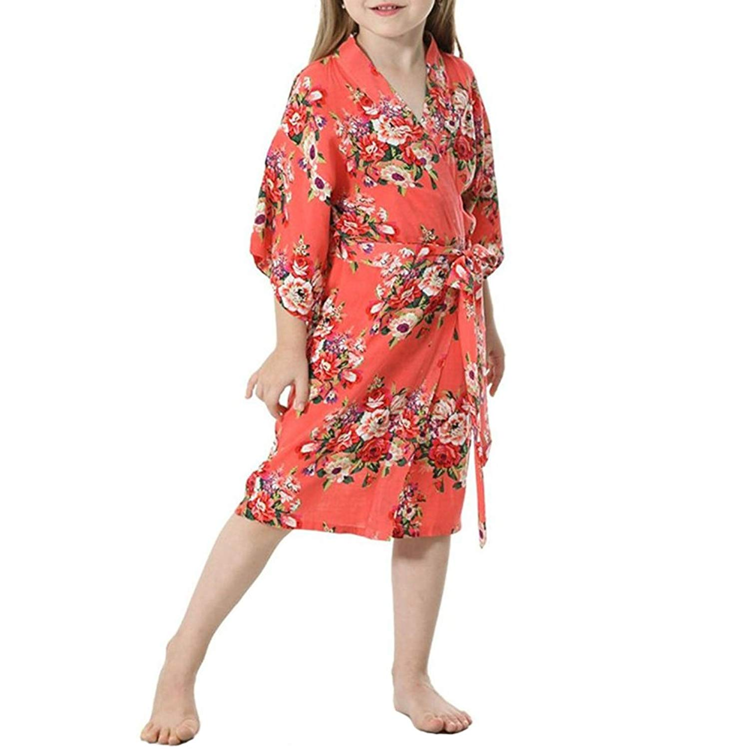 763c1b18b7 Get Quotations · YOLIA Kids Girls Robes Floral Printed Comfy Cotton Kimono  Nighties Dressing Gowns with Belt