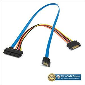 SAS 29pin Female to 15 Pin SATA Male with 7 Pin SATA Male 24 Inch Cable
