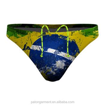 f380d0bf04212 Custom Brazil flag printed men s competition bikini briefs swimwear  waterpolo