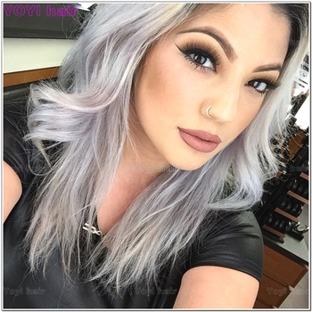 2 Tone Color Grey Ombre Hair White And Extension - Buy White And Grey Hair  Extension,Wet And Wavy Grey Hair Wefts,Virgin Remy Grey Hair Product on ...