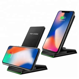 Black qi wireless phone charging station