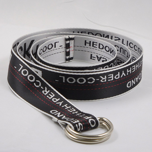 FM Brand Stylish Letter Printed Soft Canvas Web Women nylon belt Fashion Double D Ring Belt