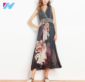 bc9dae5f5fe Wholesale latest European style Women Summer chiffon dress ladies plus size  print V neck Sleeveless Slim