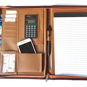 Standard A4 Size Zippered Leather Document Folder,Leather Padfolio,Leather Portfolio with Calculator