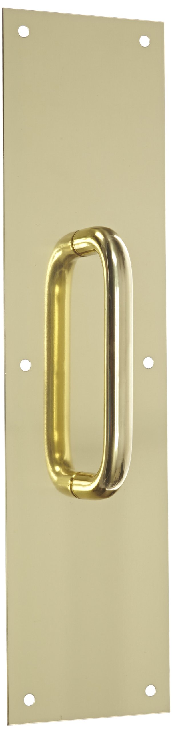 "Rockwood 102 X 70C.3 Brass Pull Plate, 16"" Height x 4"" Width x 0.050"" Thick, 5-1/2"" Center-to-Center Handle Length, 5/8"" Pull Diameter, Polished Clear Coated Finish"