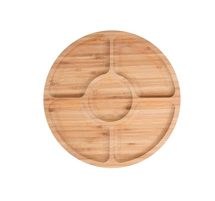 Fashionable Paint Oak wood sushi food serving tray with partition for snackes 5