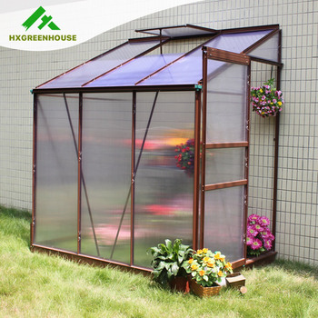 lean to greenhouse with sheet and aluminium frame hx74513g