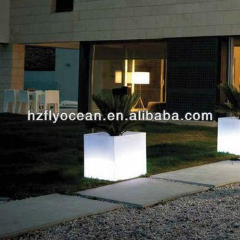 fo 9521 verlichte bloempotten tuin cube bloem container pot led licht pot