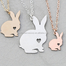 Nhồi tùy chỉnh <span class=keywords><strong>bunny</strong></span> rose gold animal pendant necklace