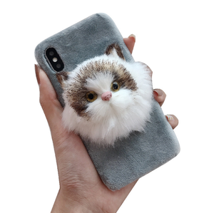 Beautiful Mobile Phone Case Back Cover 3D Plush Cat Winter Warm Case Phone Cover For iphone 7 8