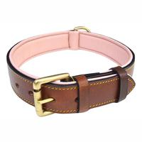2019 Amazon hot sales Soft Touch Collars Luxury Real Leather Padded Dog Collar
