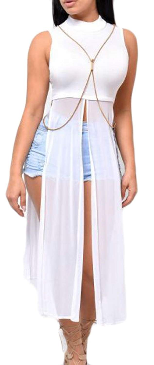 8ebbfe9499d4 Get Quotations · NQ Womens Vogue Sheer Strapless Bodycon Overlay Clubwear  Long Maxi Dress