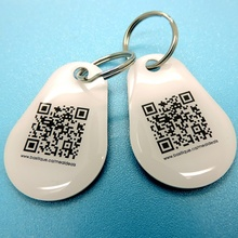 QR code match met UID passieve RFID NTAG213 NFC <span class=keywords><strong>epoxy</strong></span> Tag keyfob sleutelhanger