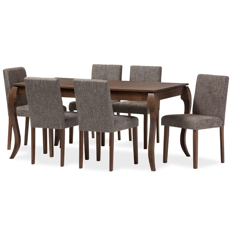 Baxton Studio Silana Mid-Century Modern Solid Wood 7 Piece Dining Set, Walnut