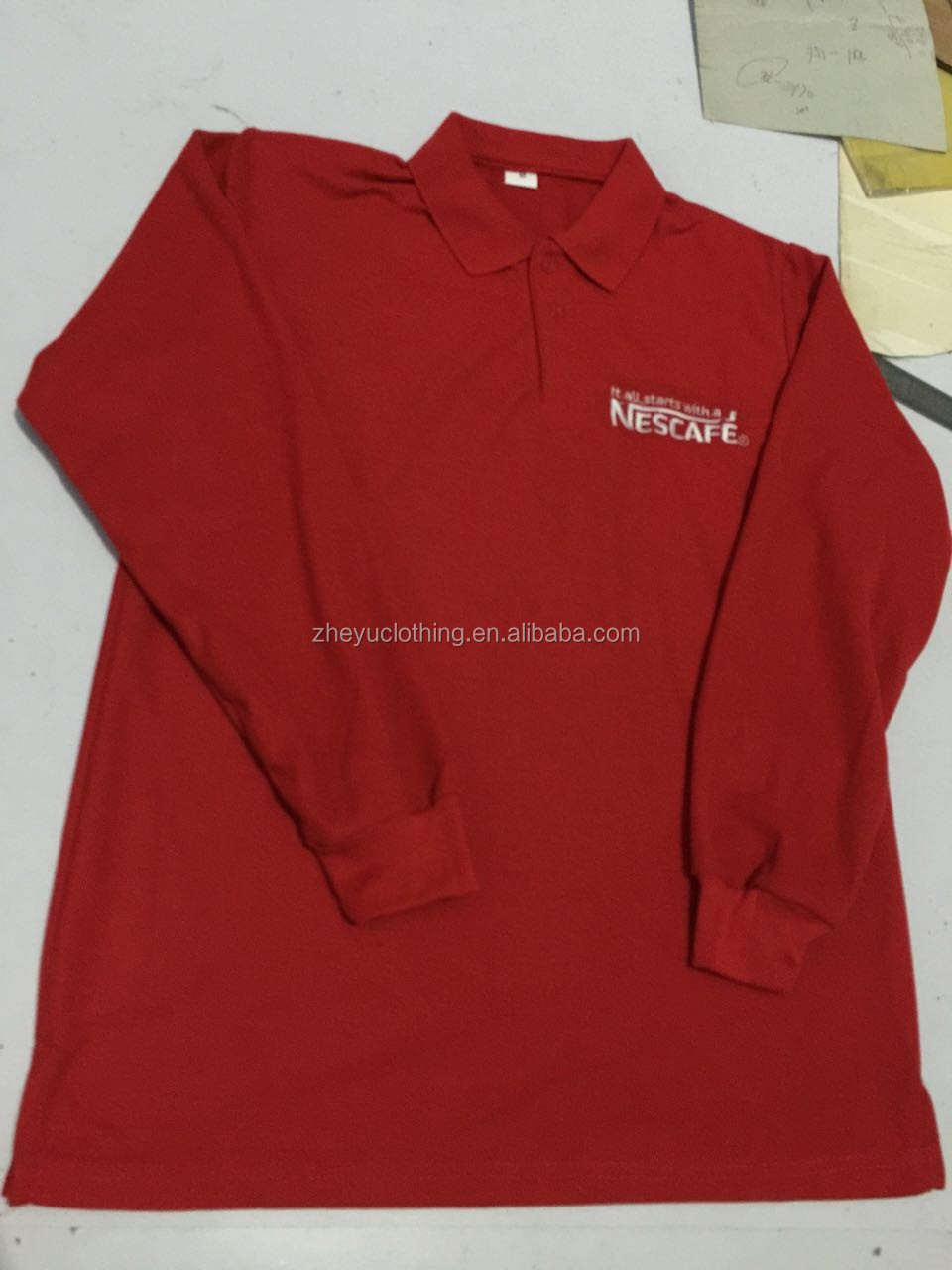 Custom side vents long sleeve polo shirt with ribbed cuff bulk wholesale