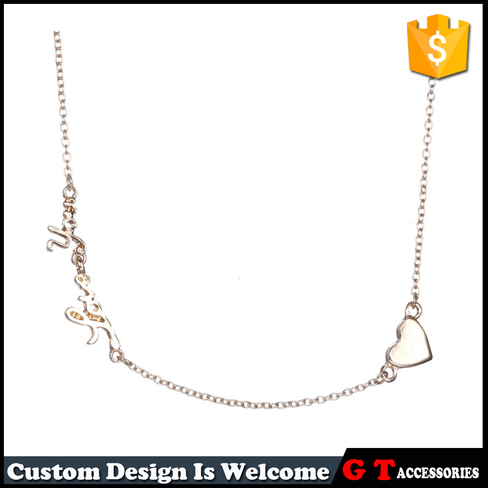 Personalized Charm Monogram Necklace With Heart Shape Simple Gold Silver Long Chain Jewelry Necklace For Women