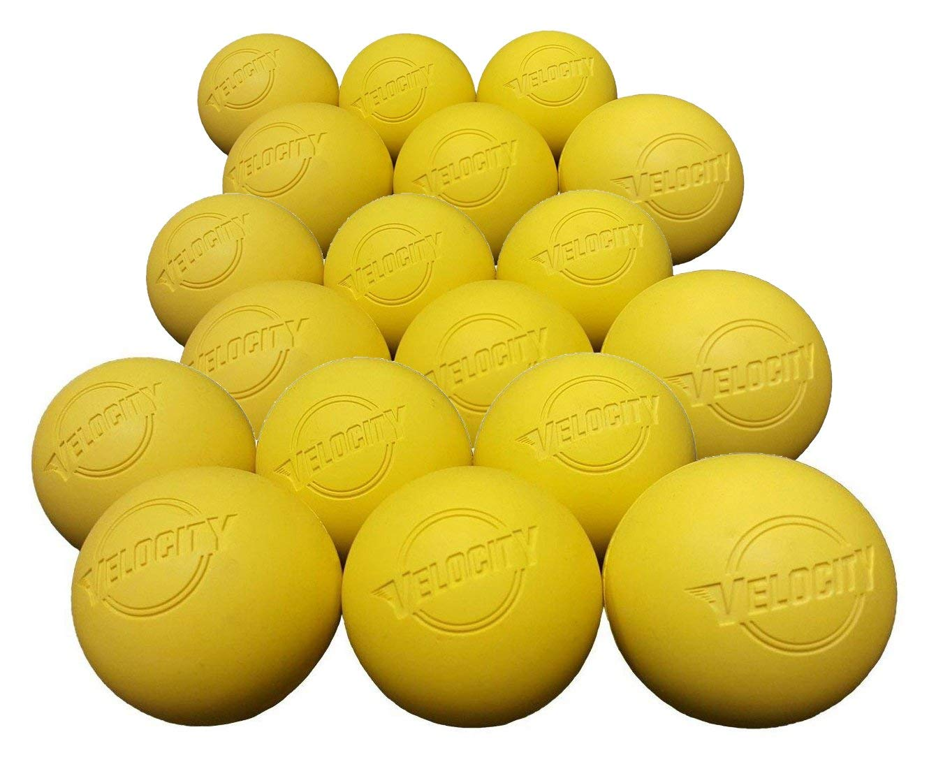 Velocity 18 Pack Lacrosse Balls for Adults & Kids: Official Size for Professional, College & High School. NOCSAE, NCAA, NFHS Certified. Colors: Yellow, Orange & White.