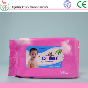 wholesale Non-woven Acohol free cleaning use skin care Q-BEBE baby wet wipe/wet tissue with OEM supplier in china