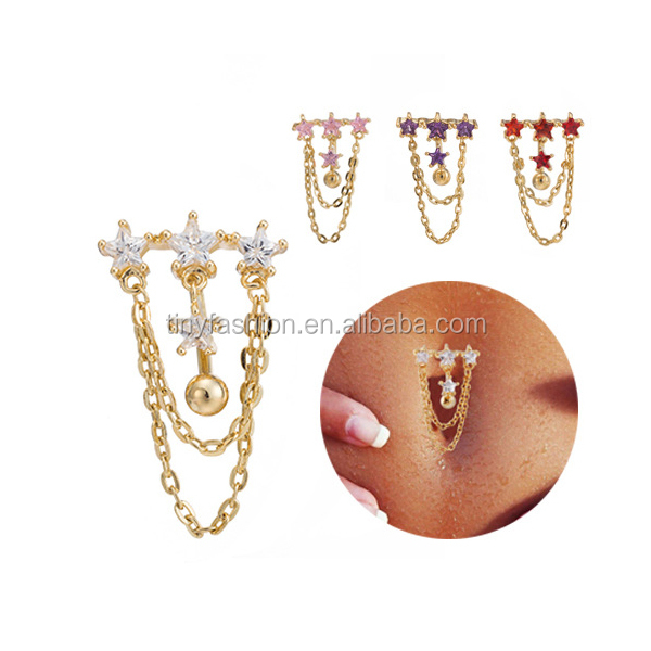 Small Order Jewelry Young Fashion Jewelry Body Piercing Hot Star Tassel Dangle Navel Rings