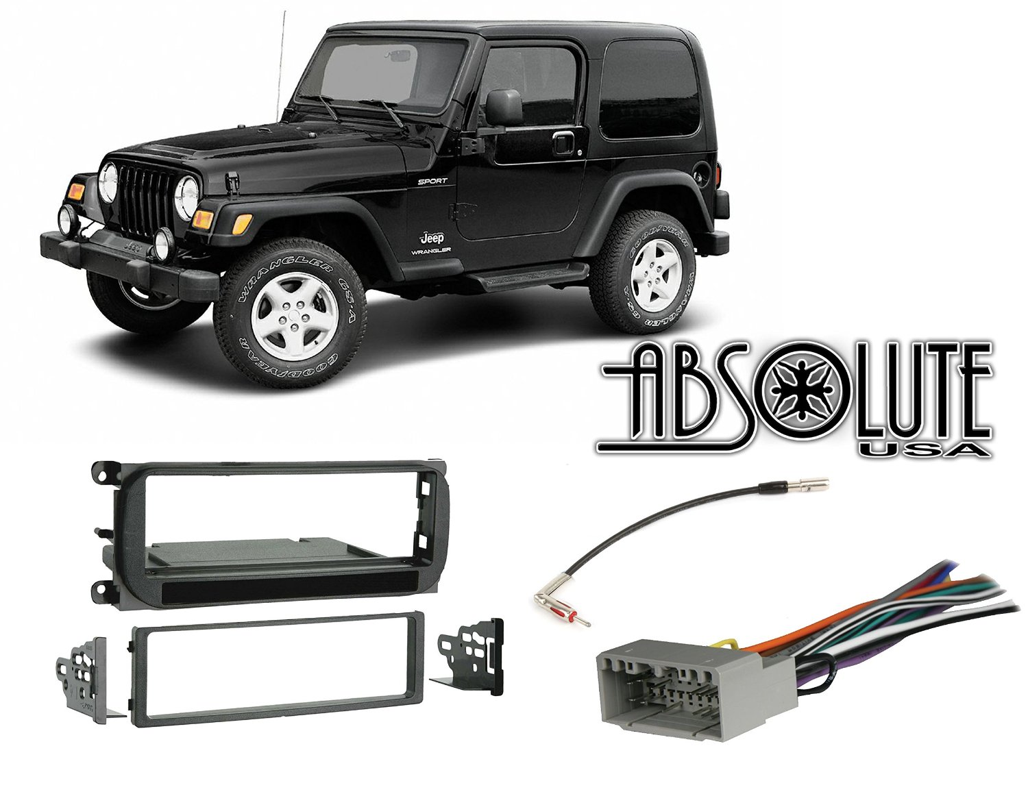 Cheap Install Cb Radio Find Deals On Line At Boston Acoustics Jeep Patriot Wiring Diagram Get Quotations Absolute Radiokitpkg16 Fits Wrangler 2003 2006 Single Din Stereo Harness Dash Kit