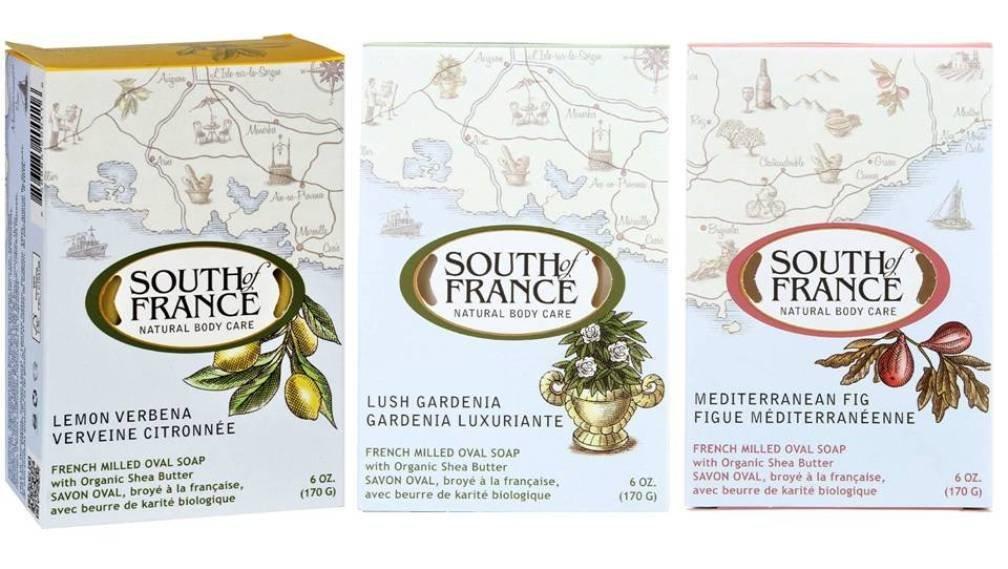 South Of France Natural Body Care Bar Soap 3 Fragrance Variety Bundle: (1) South Of France Lemon Verbena, (1) South Of France Lush Gardenia, and (1) South Of France Mediterranean Fig, 6 Oz. ea.