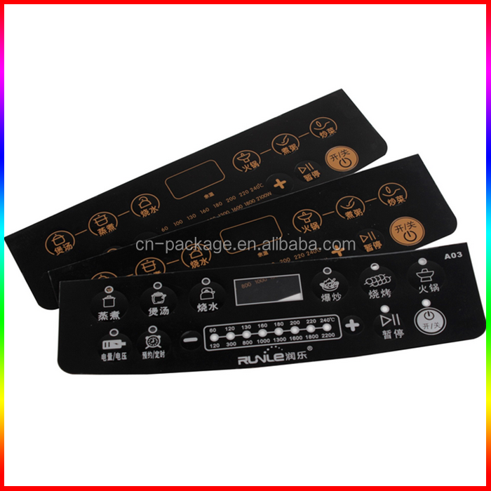 induction cooker botton embossing PVC control pannel sticker