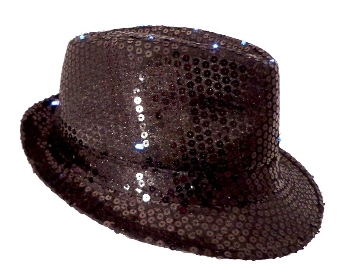 Get Quotations · LED Sequin Fedora Hat - Light-up Hat - Black e567b885cff
