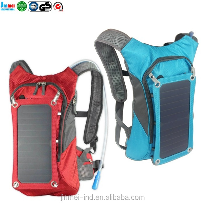 China new design fashion camping hiking solar bag and solar backpack with water bladder and solar panel charger JM-B006S13