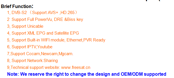 Original factory new model Freesat V9 super dvb-s2 satellite receiver with built-in wifi