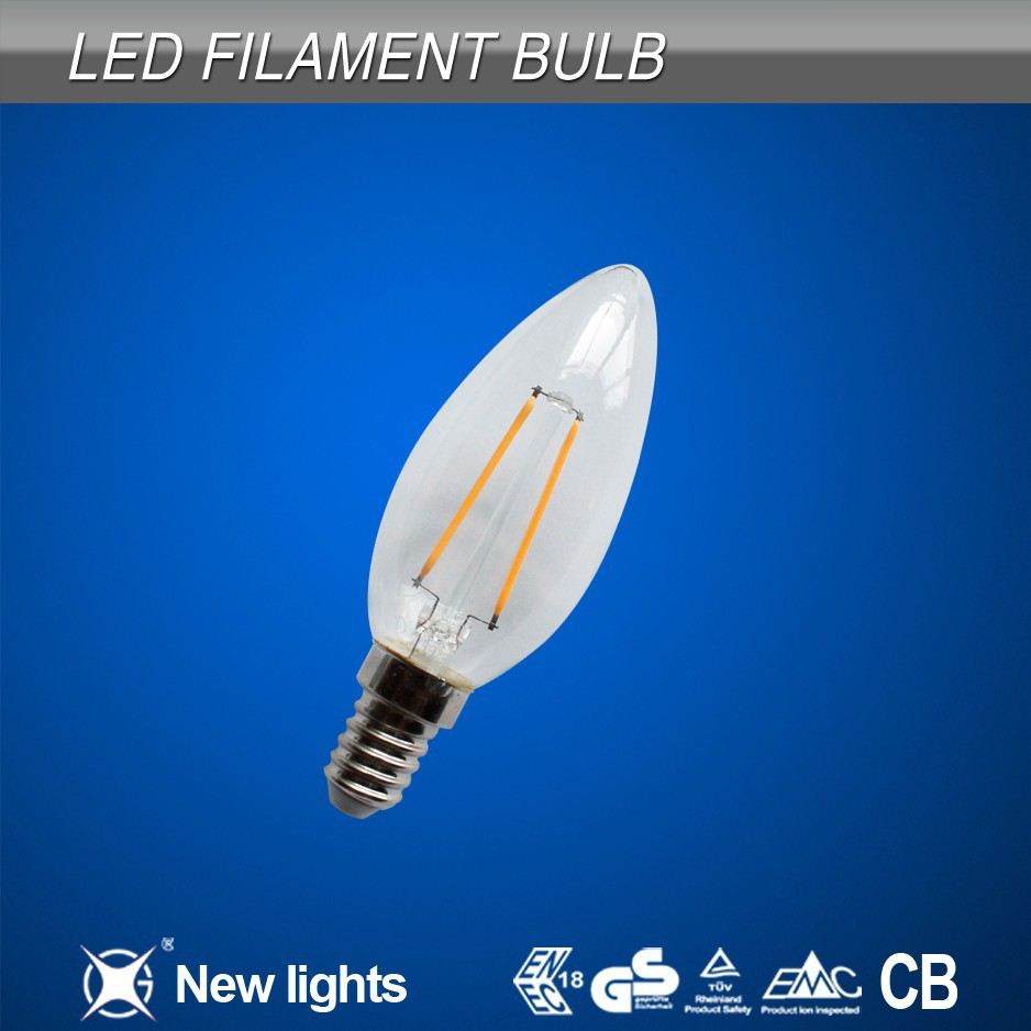 china manufacturer led filament bulb e14 candle 2w