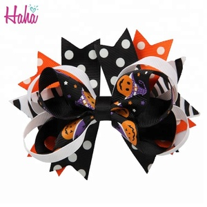 new design kids Halloween bloody baby pumpkin hair bow