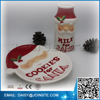 Ceramic Santa Cookie Plate And Milk Bottle 2017 Popular Christmas ...