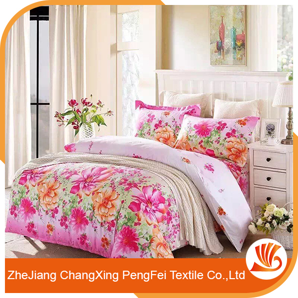 Custom Print 3D Digital Printed Flower Bed Sheet Fabric