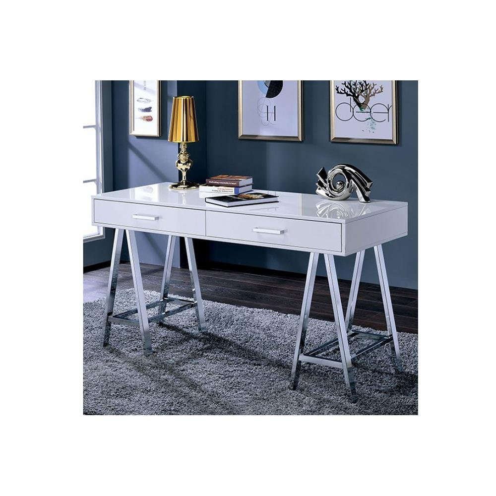 Get quotations · holton contemporary 54 inch long computer desk in white lacquer