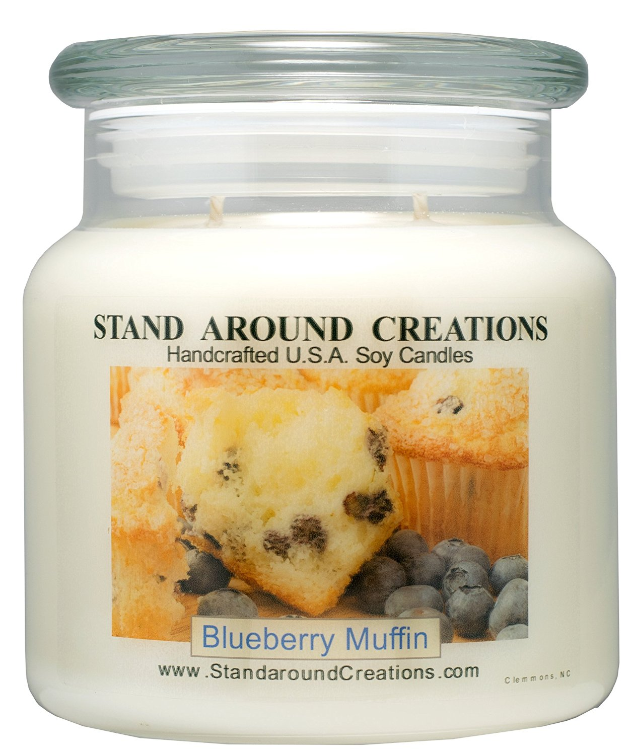 Stand Around Creations Premium 100% Soy Apothecary Candle - 16oz - Blueberry Muffins: The aroma of freshly baked blueberry muffins.