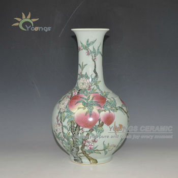 Chinese Qing Antique Imitation Hand Painted Peach Flower Vase Buy