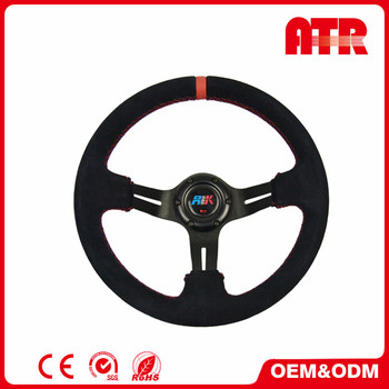 Wholesale superior 85mm dish leather racing car steering wheel
