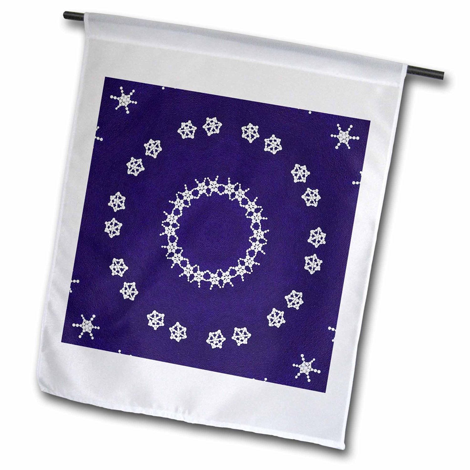 CherylsArt Kaleidoscope Patterns - Painted Snowflakes on Blue Kaleidoscope Pattern - 18 x 27 inch Garden Flag (fl_39476_2)