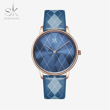 Shengke женские часы, клетчатые кожаные Наручные часы для девушек, женские часы, брендовые наручные часы, часы Montres Femme Reloj Mujer(Китай)