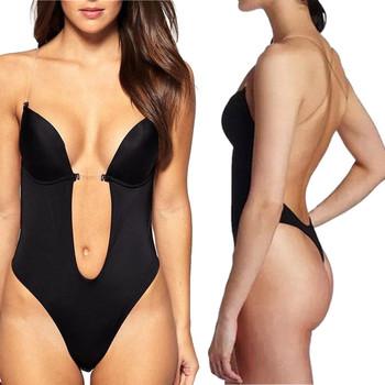 Party Dress Bodysuit Underwear Women Body Shaper Slips Backless Bra G String Waist Trainer U