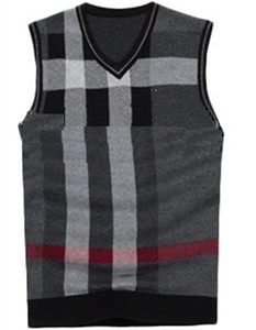 V-neck Sleeveless Sweater Vest For Men Jacquard Knitwear