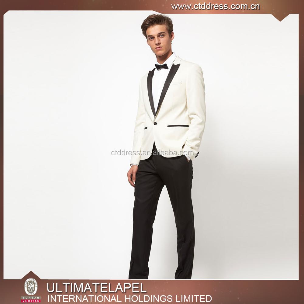 2017 Custom Tailored Unique Groom Wedding Tuxedos White Tuxedo ...