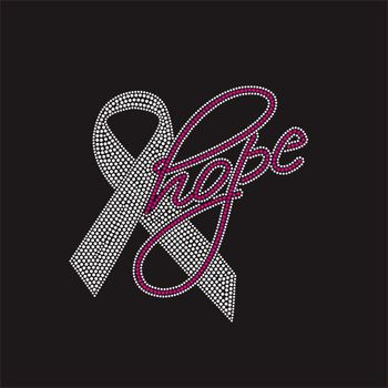 Ribbon Hope Rhinestone Iron On Transfer Breast Cancer Awareness Month
