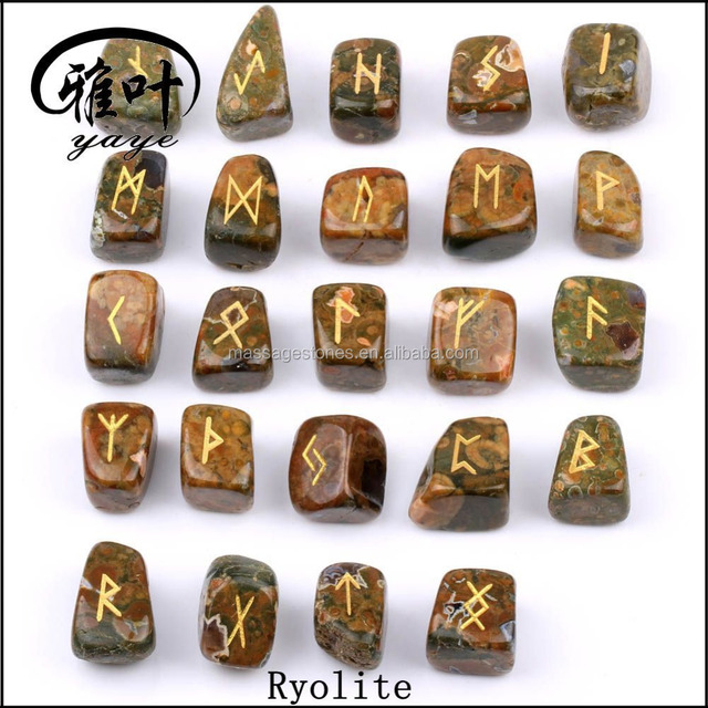 Wholesale Natural Semi-precious Stone Gift Word Engraved Reiki Tumble Stone Rune Stones