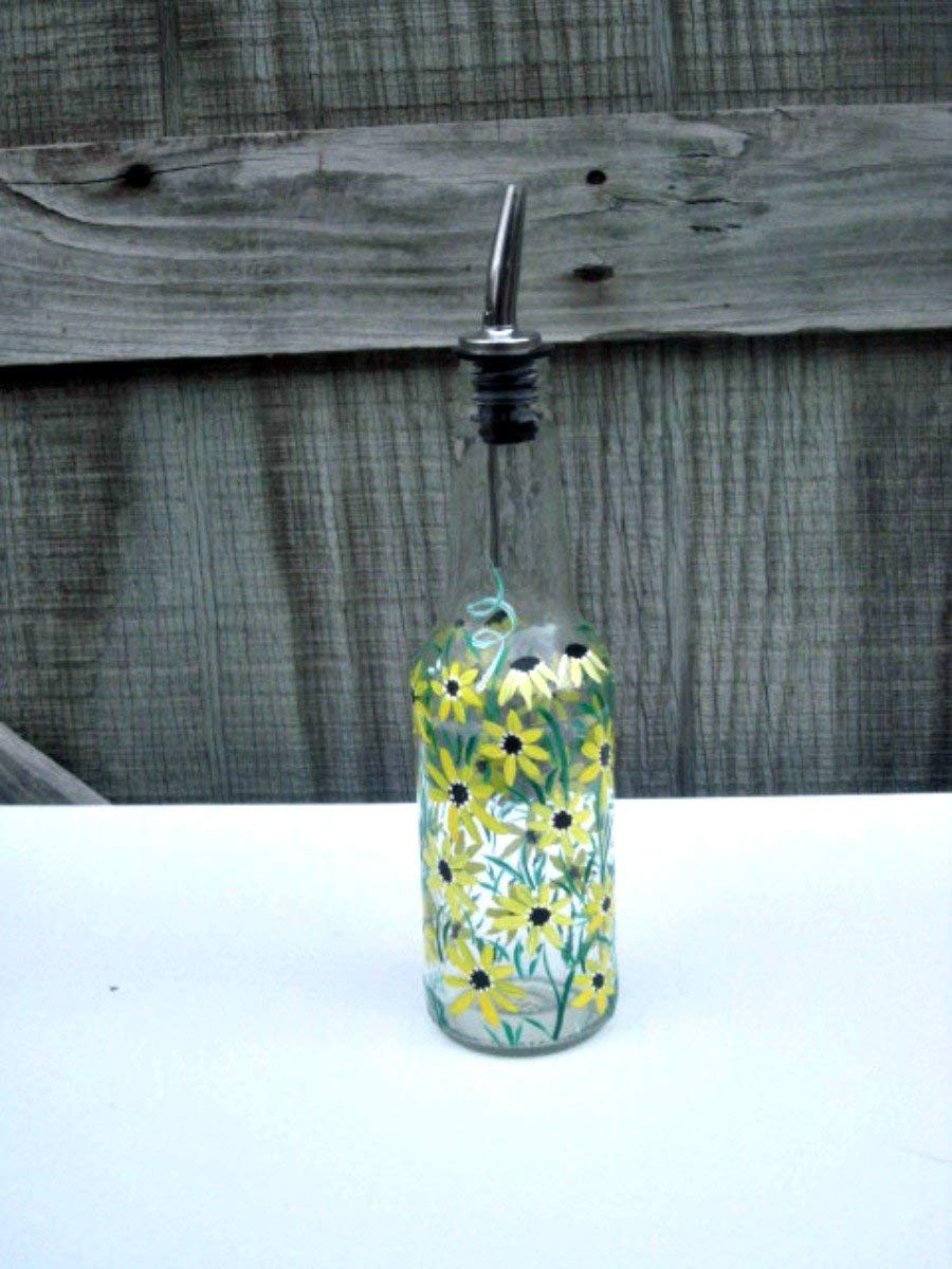 Dish Soap Dispenser, Oil and Vinegar Bottle, Hand Painted Glass Bottle, Kitchen Decoration, Shades of Yellow Flowers